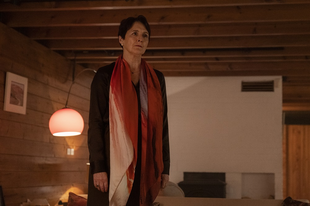 Still of Fiona Shaw in Killing Eve.
