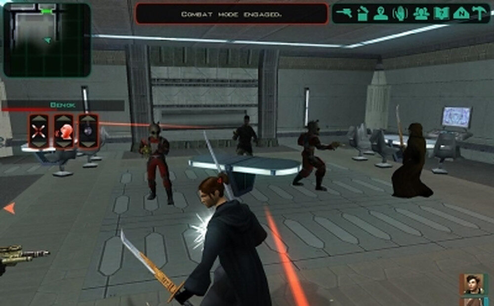 The Jedi Exile fights a roomful of alien thugs in KOTOR 2.