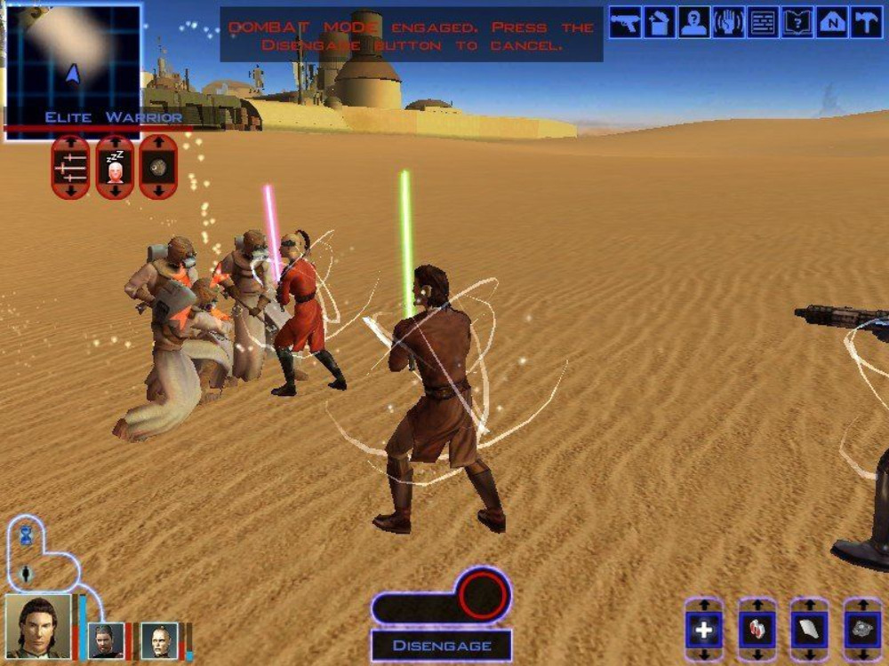 The player and his party fight Sand People in Star Wars Knights of the Old Republic