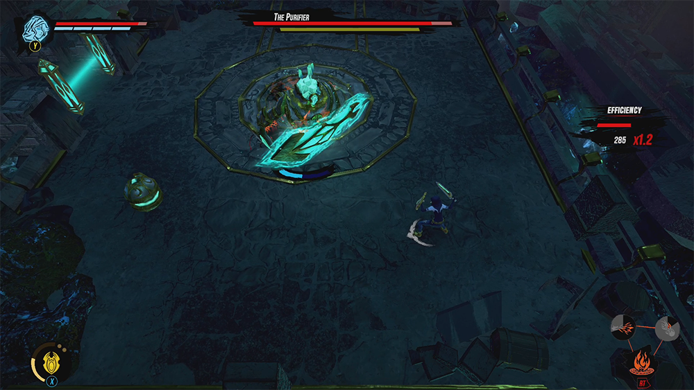 Vanessa and Monty facing off against The Purifier in Obey Me.