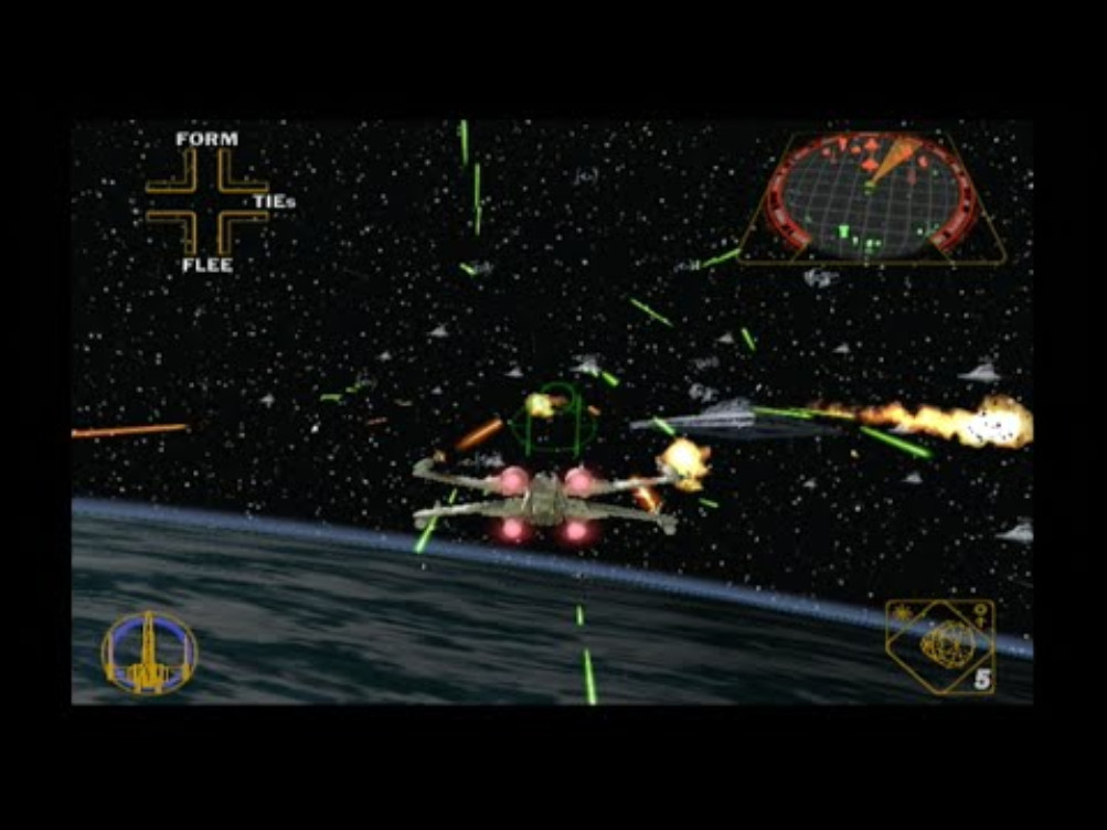 Wedge Antilles leads Rogue Squadron during the Battle of Endor in Rogue Squadron II: Rogue Leader