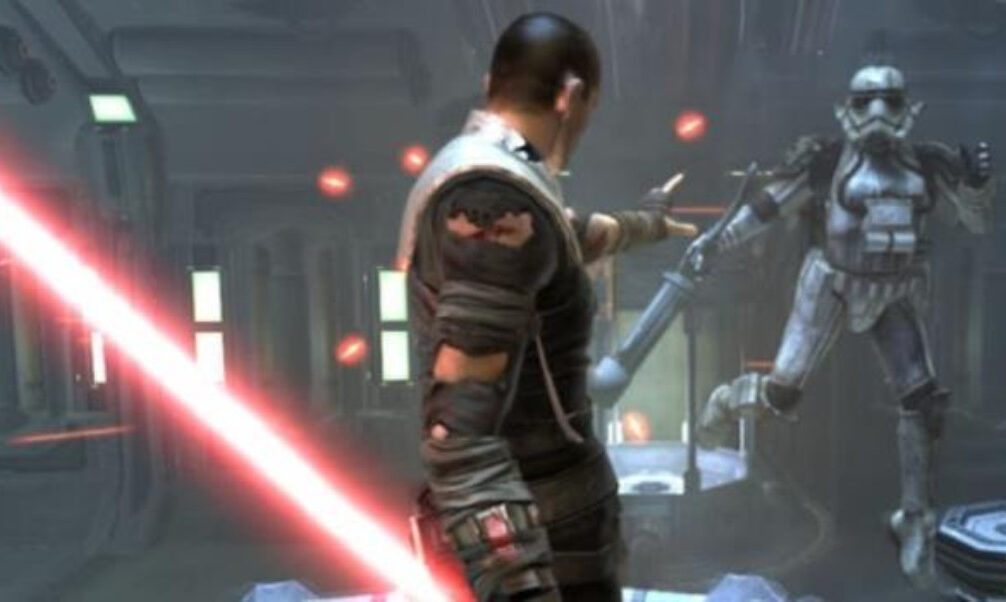 Starkiller telekinetically holds up a stormtrooper in Star Wars The Force Unleashed