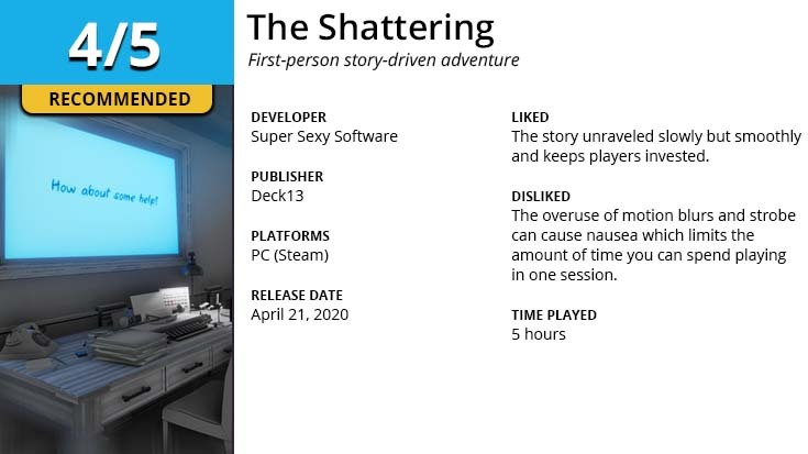 GGA Game Review summary for The Shattering