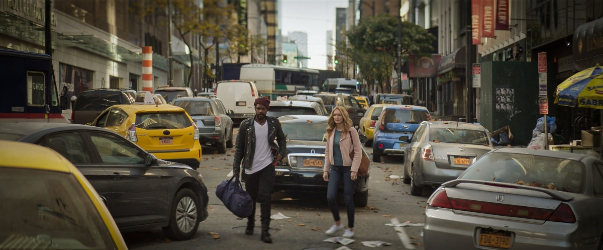 Jovan Adepo as Larry Underwood and Heather Graham as Rita Blakemoor in The Stand.