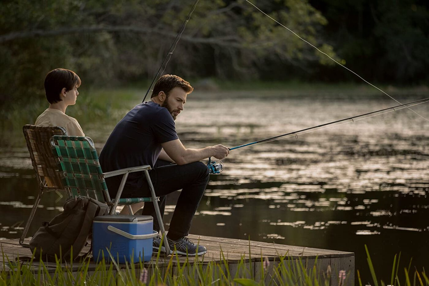 Chris Evans as Andy fishing in Defending Jacob