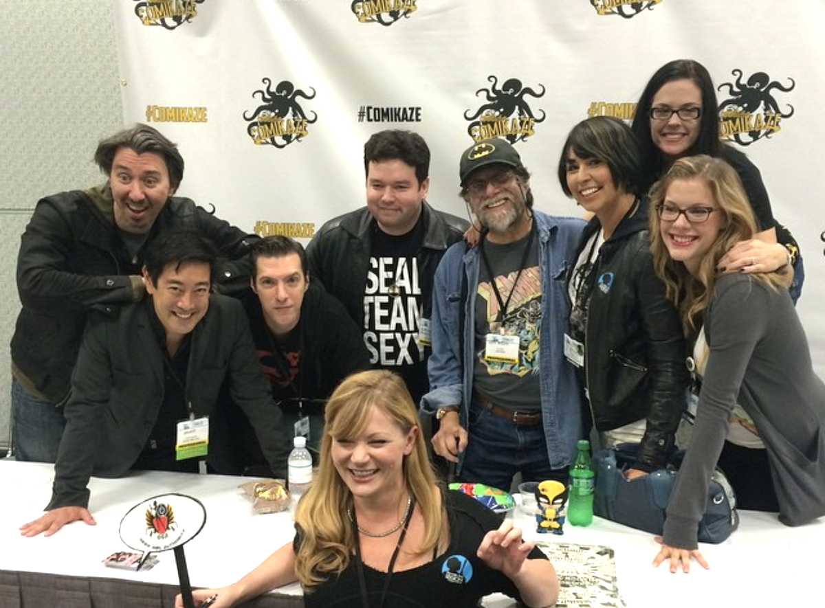 Len Wein appears on a comic con panel with audrey kearns, claudia dolph, jenna busch, jenny flack, grant imahara, matt key, alan kistler and joseph scrimshaw