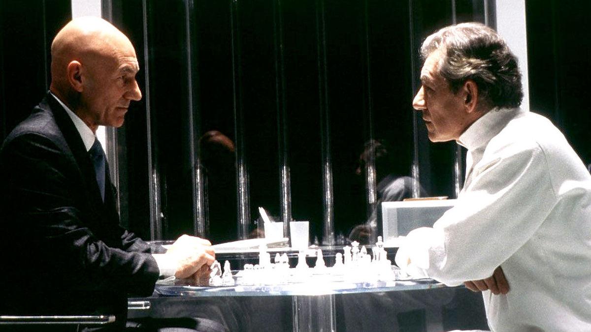 x-men professor xavier and erik playing chess