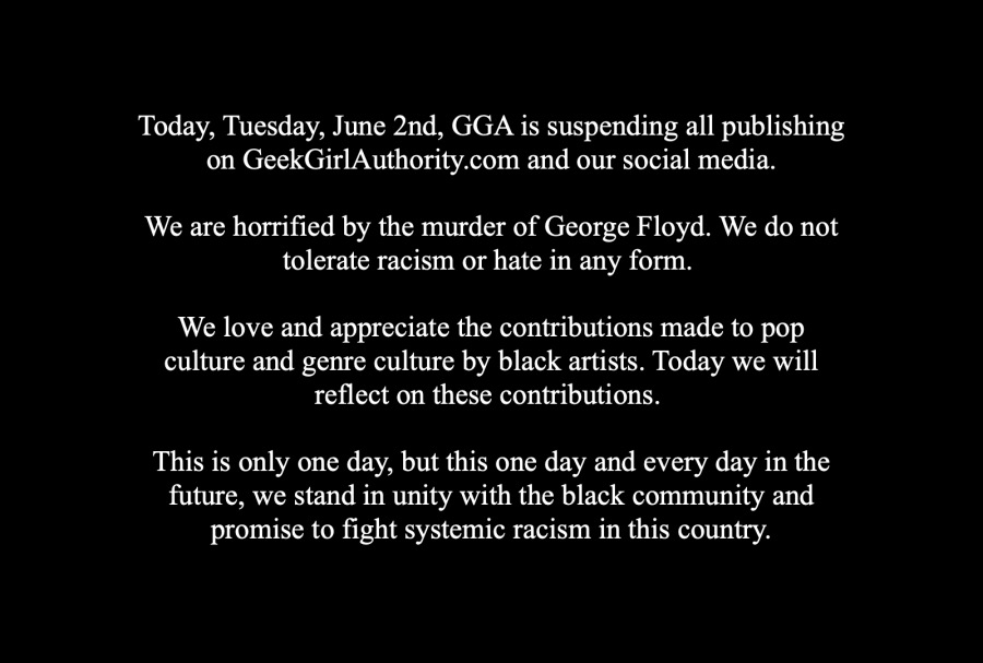 statement from geek girl authority on Blackout Tuesday