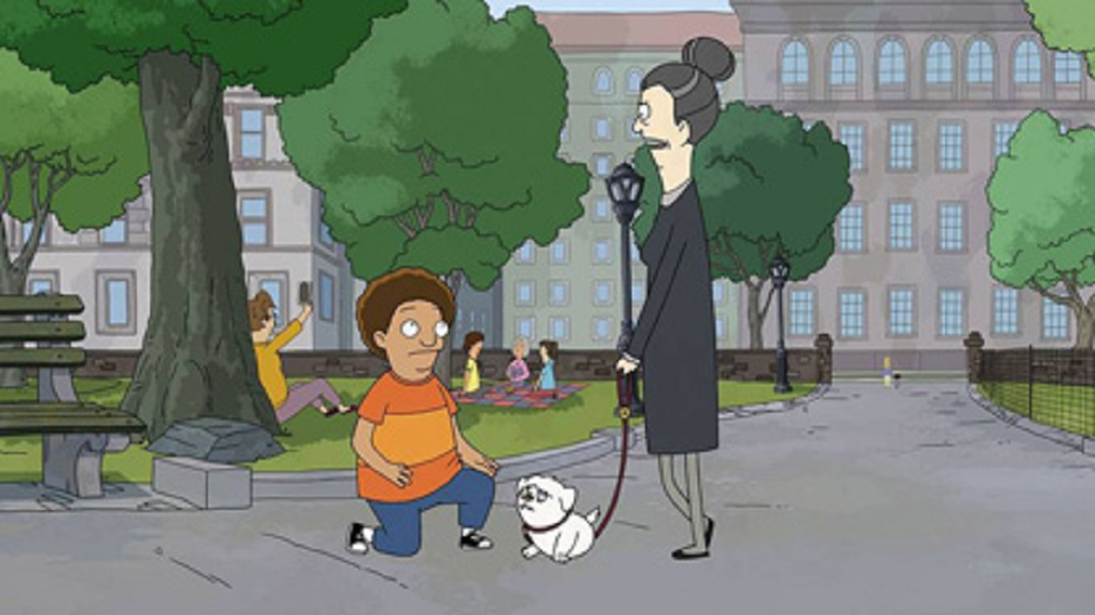 Still of Cole (voiced by Tituss Burgess) and Helen (voiced by Daveed Diggs) in Central Park.