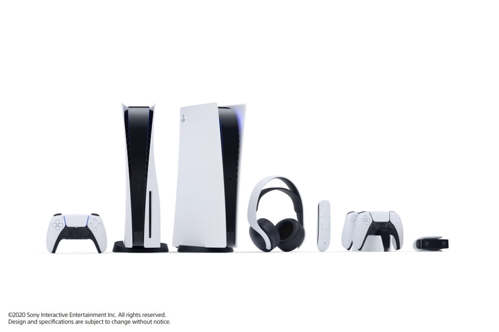 Both editions of the PS5 with accompanying accessories.