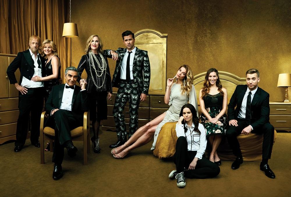 Still of cast of Schitt's Creek, which won a Golden Globe for Best Television Series.
