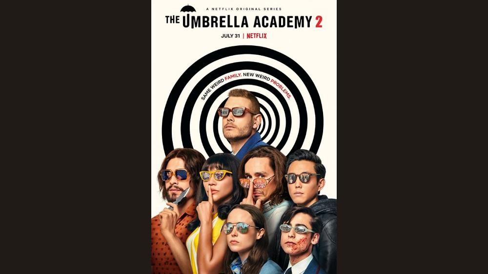 Promotional photo of David Castañeda, Emmy Raver-Lampman, Tom Hopper, Robert Sheehan, Ellen Page, Justin Min, and Aidan Gallagher for The Umbrella Academy.