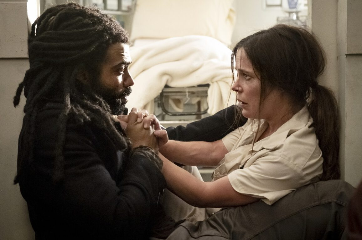 Still of Daveed Diggs and Katie McGuinness in Snowpiercer.