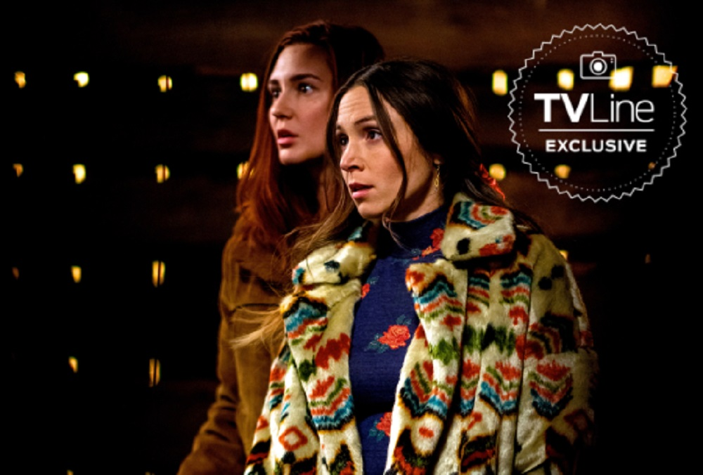 Still of Kat Barrell and Dominique Provost-Chalkley in Wynonna Earp, as used for SDCC 2020
