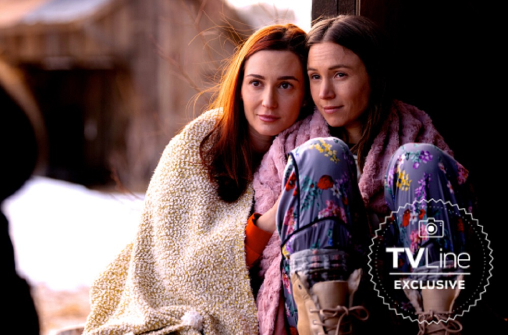 Still of Kat Barrell and Dominique Provost-Chalkley in Wynonna Earp.