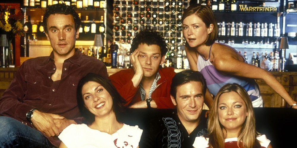 Promotional photo of the cast of Coupling.