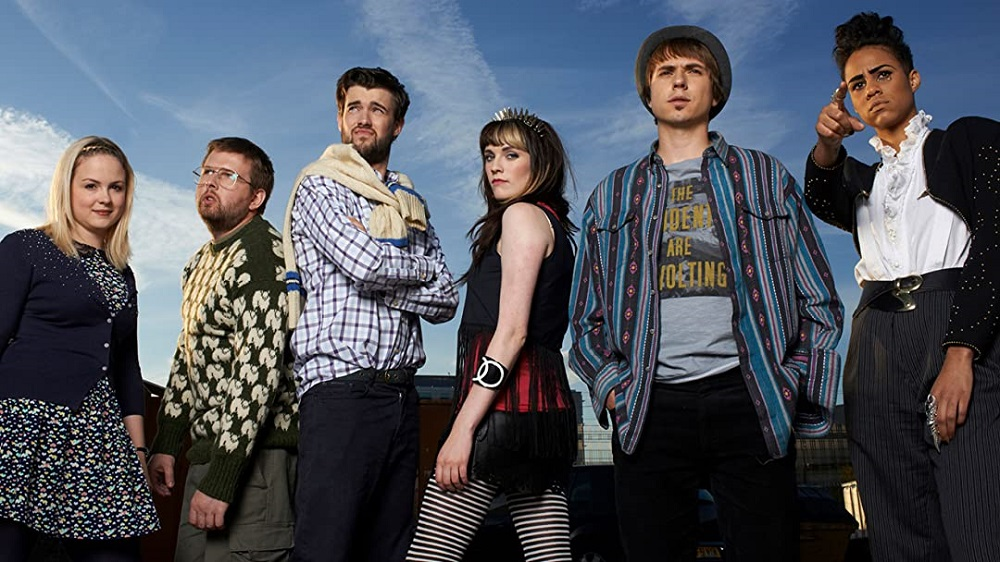 Promotional still of the cast of Fresh Meat.