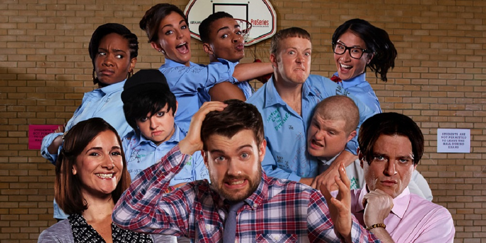 Promotional photo of the cast of Bad Education.