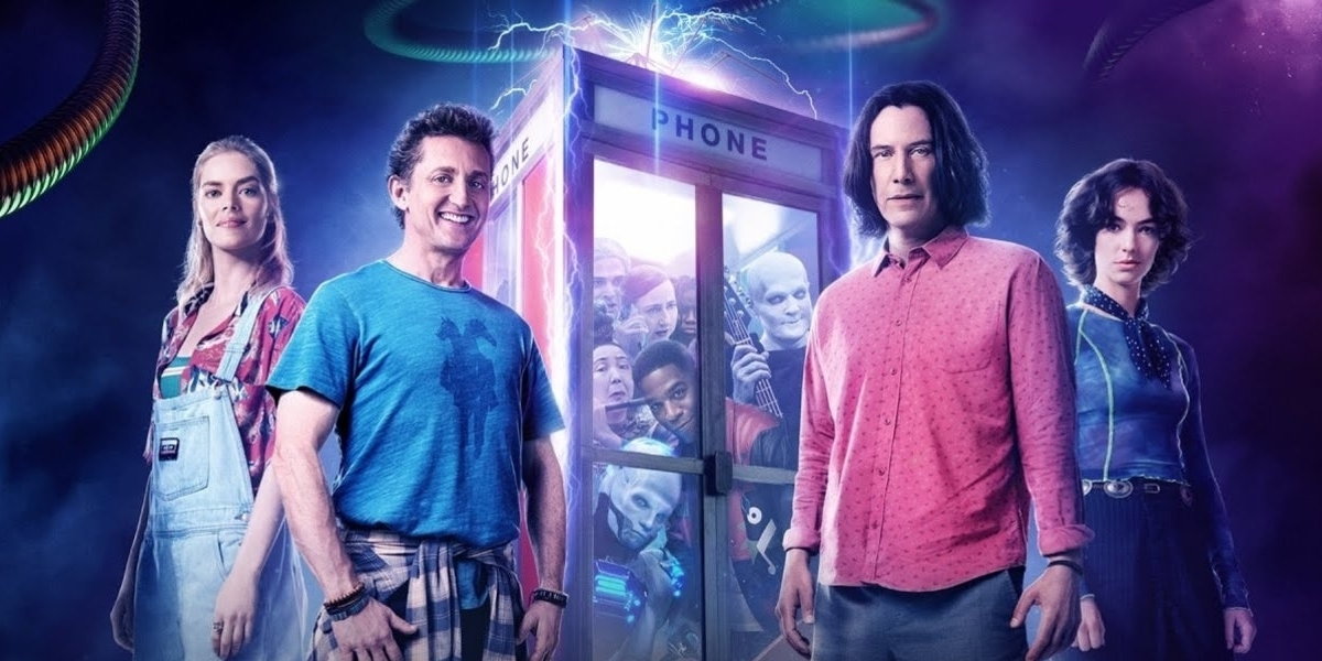 Promotional photo of Samara Weaving, Alex Winter, Keanu Reeves, and Brigette Lundy-Paine for Bill & Ted Face the Music, as used for SDCC 2020