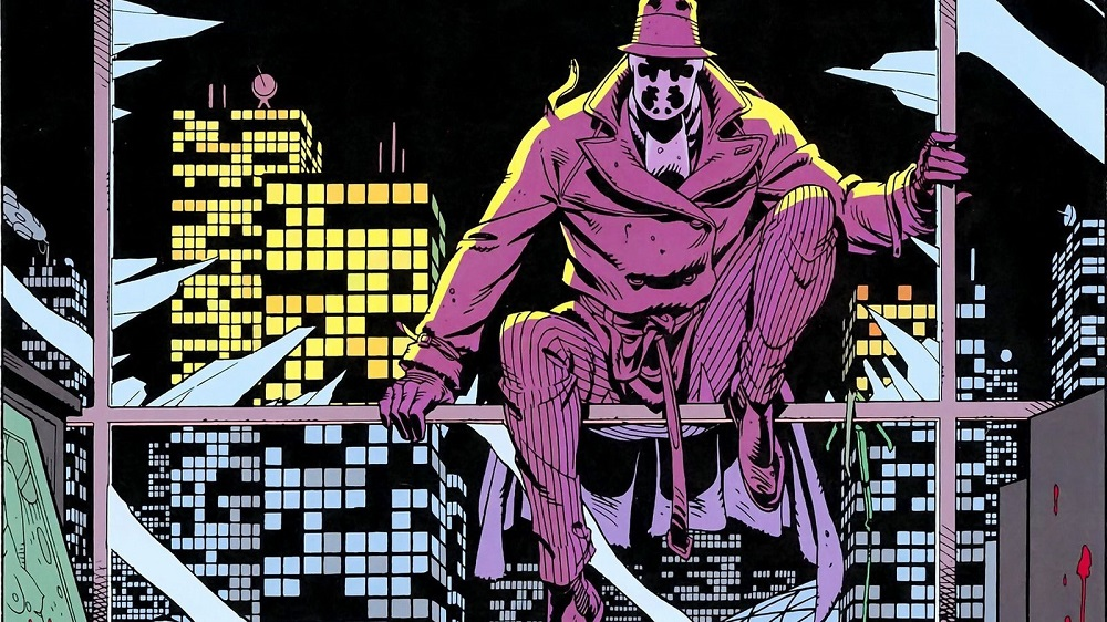 Panel of Rorschach from Watchmen by Alan Moore and Dave Gibbons.