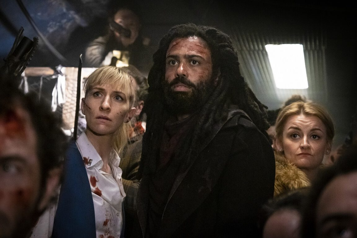 Still of Mickey Sumner, Daveed Diggs, and Alison Wright in Snowpiercer.