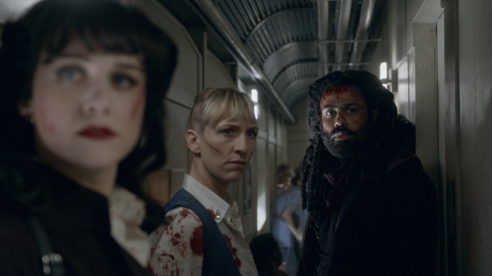 Still of Lena Hall, Mickey Sumner, and Daveed Diggs in Snowpiercer.