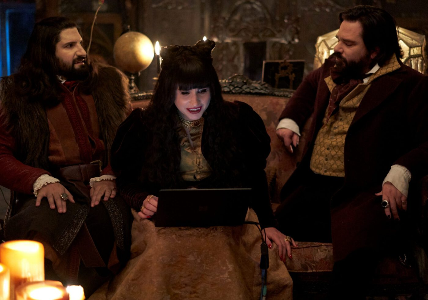 Still of Kayvan Novak, Natasia Demetriou, and Matt Berry in What We Do in the Shadows.