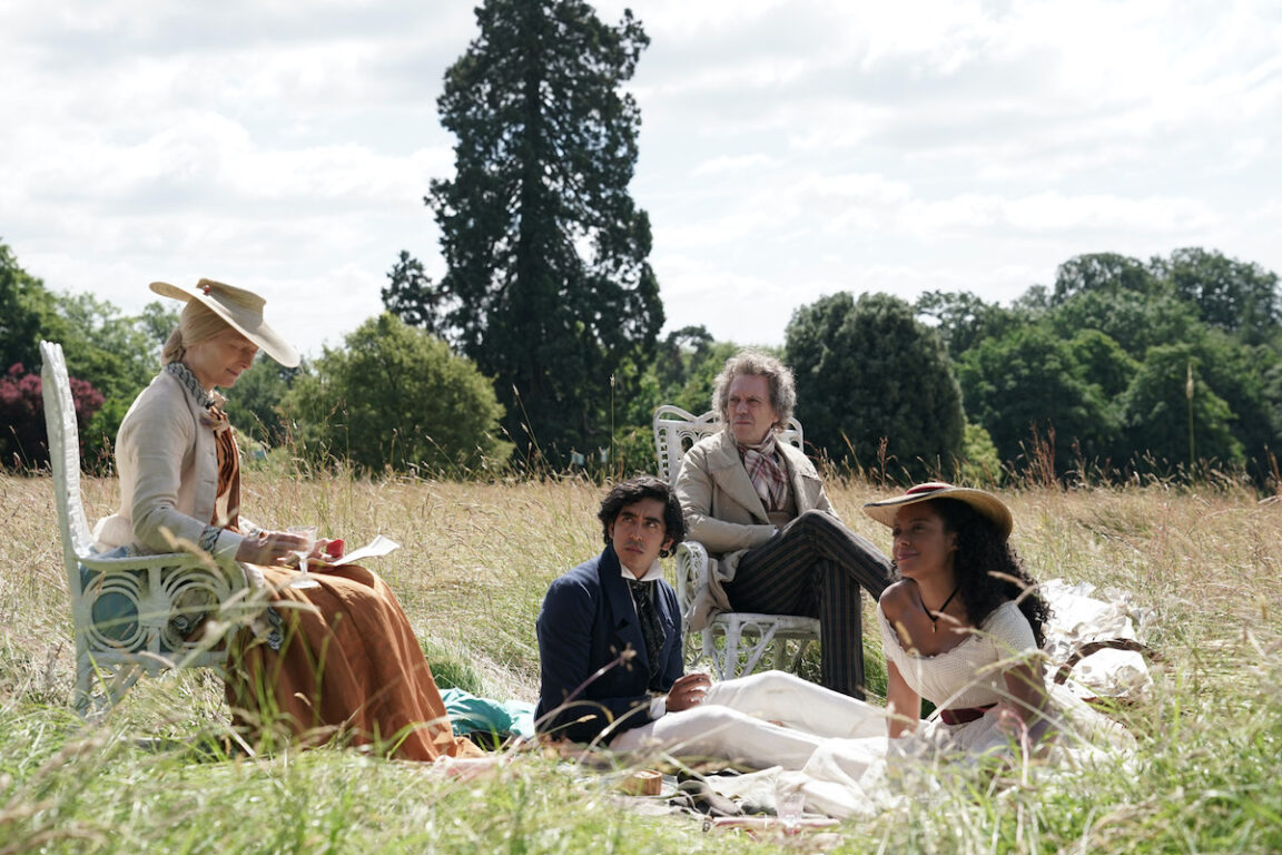 Tilda Swinton, Dev Patel, Hugh Laurie and Rosalind Eleazar in the film THE PERSONAL HISTORY OF DAVID COPPERFIELD.