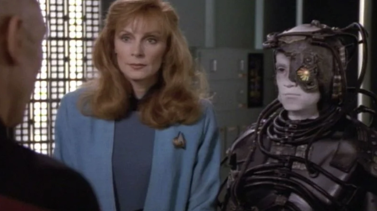 """Picard, Beverly Crusher and Hugh in Star Trek: The Next Generation episode, """"I, Borg"""""""