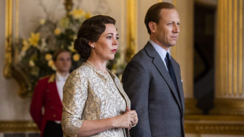 Still of Olivia Colman and Tobias Menzies in The Crown.