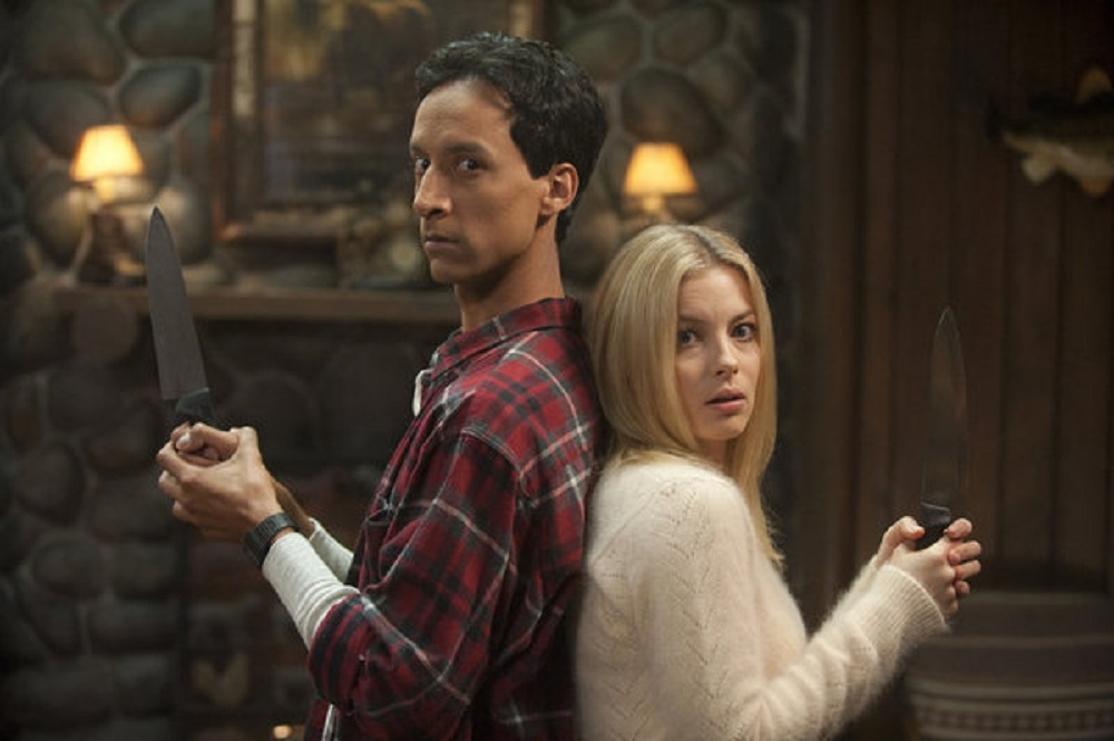 """Still of Danny Pudi and Gillian Jacobs in Community's Halloween episode, """"Horror Fiction in Seven Spooky Steps."""""""