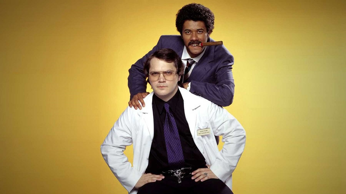 Promotional photo of Matthew Holness and Richard Ayoade for Garth Marenghi's Darkplace.