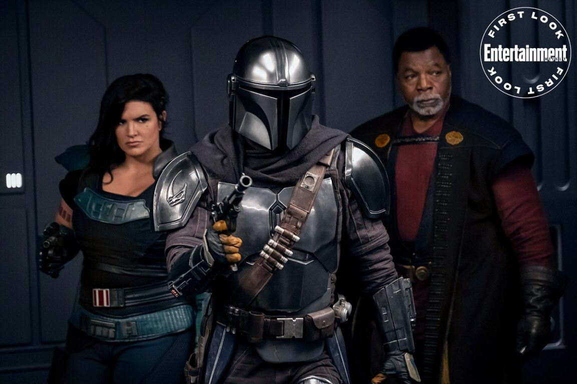 Still of Gina Carano, Pedro Pascal, and Carl Weathers in The Mandalorian.