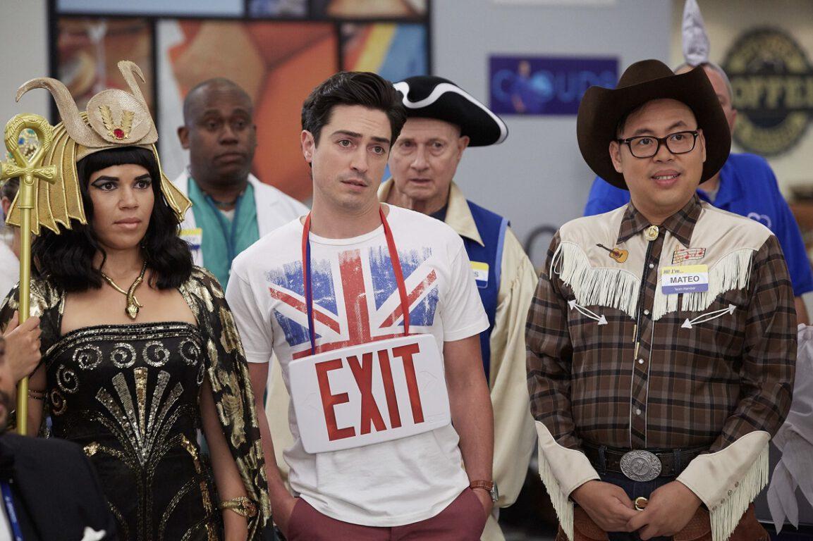 "SUPERSTORE -- ""Halloween Theft"" Episode 207 -- Pictured: (l-r) America Ferrera as Amy, Ben Feldman as Jonah, Nico Santos as Mateo -- (Photo by: Tyler Golden/NBC)"