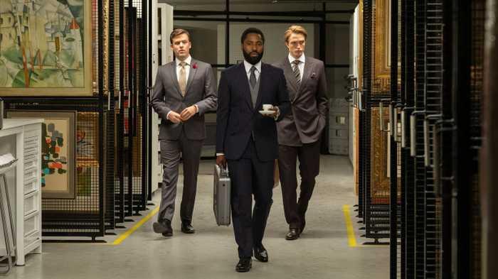 Jack Cutmore-Scott, John David Washington, Robert Pattinson in Tenet