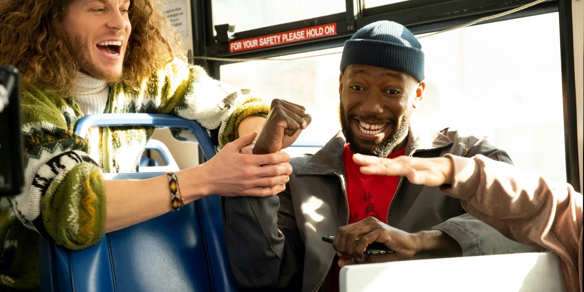 Gunther and Keef ride the bus on Hulu's Woke