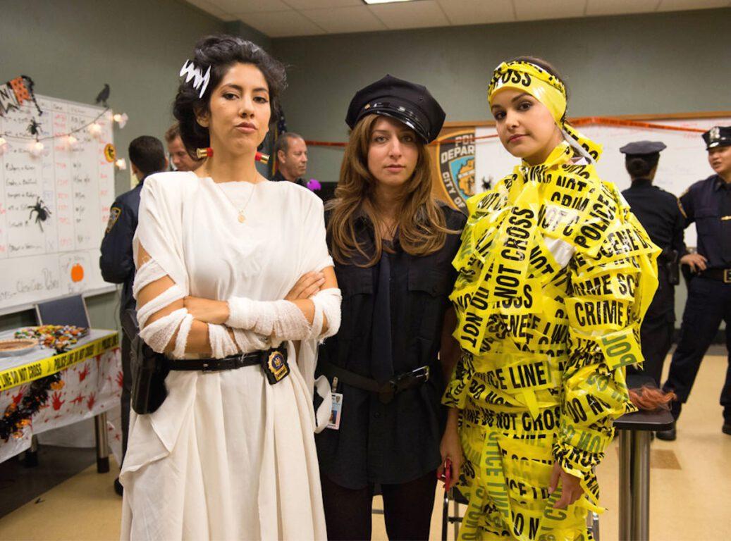 Still of Stephanie Beatriz as Rosa Diaz, Chelsea Peretti as Gina Linetti and Melissa Fumero as Amy Santiago.