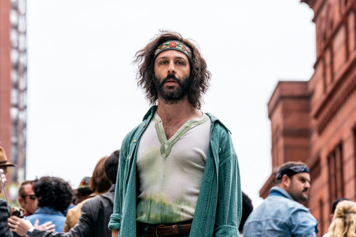 Jeremy Strong stars as Jerry Rubin in The Trial of the Chicago 7, which won a Golden Globe.