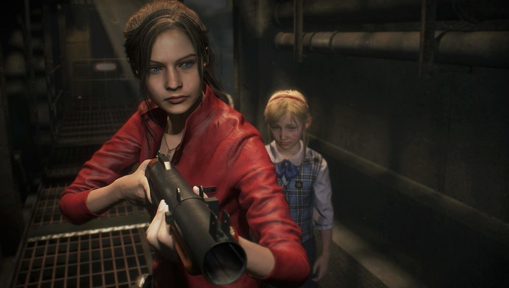Claire Redfield protecting Sherry Birkin in Resident Evil 2.