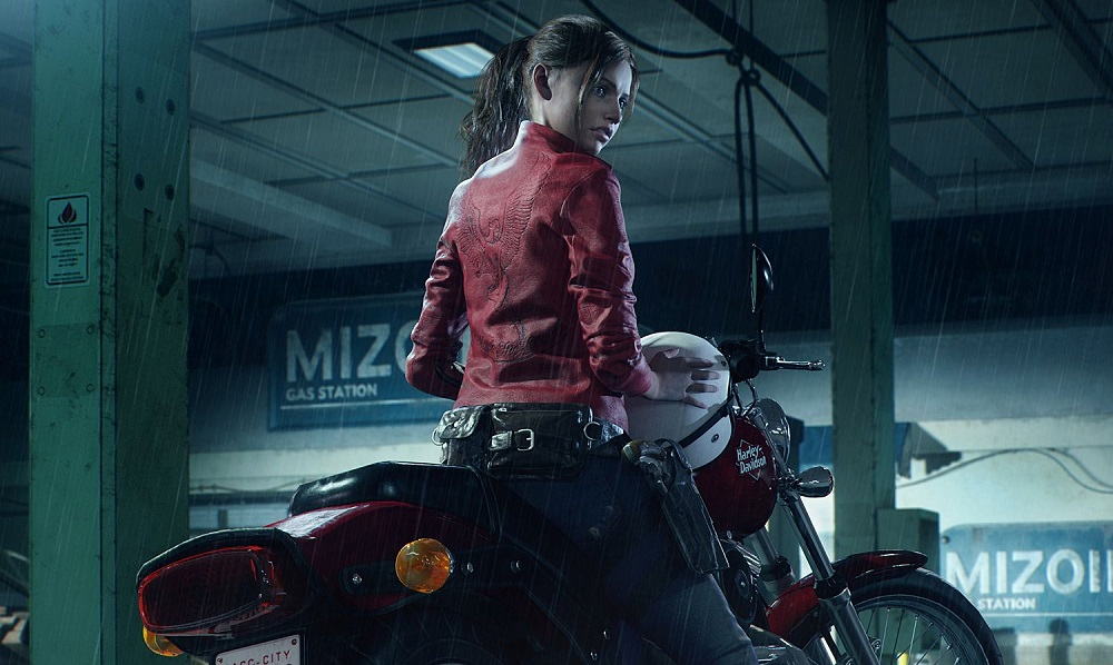 Claire Redfield on her motorcycle in Resident Evil 2.