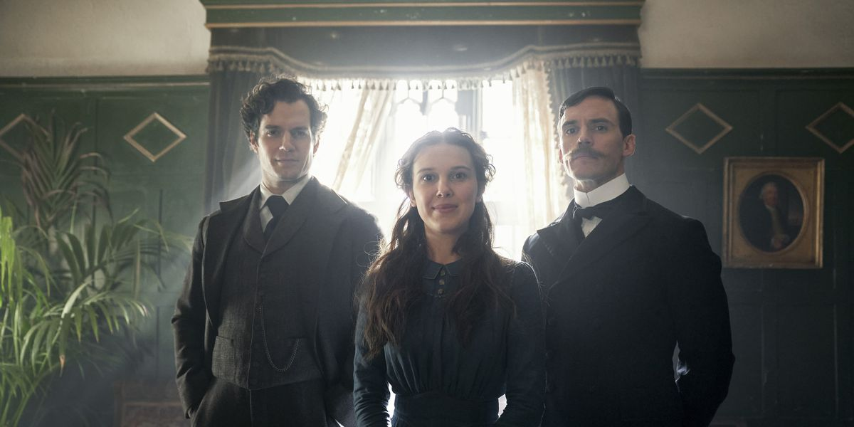 Still of Henry Cavill, Millie Bobby Brown and Sam Claffin in Netflix's Enola Holmes