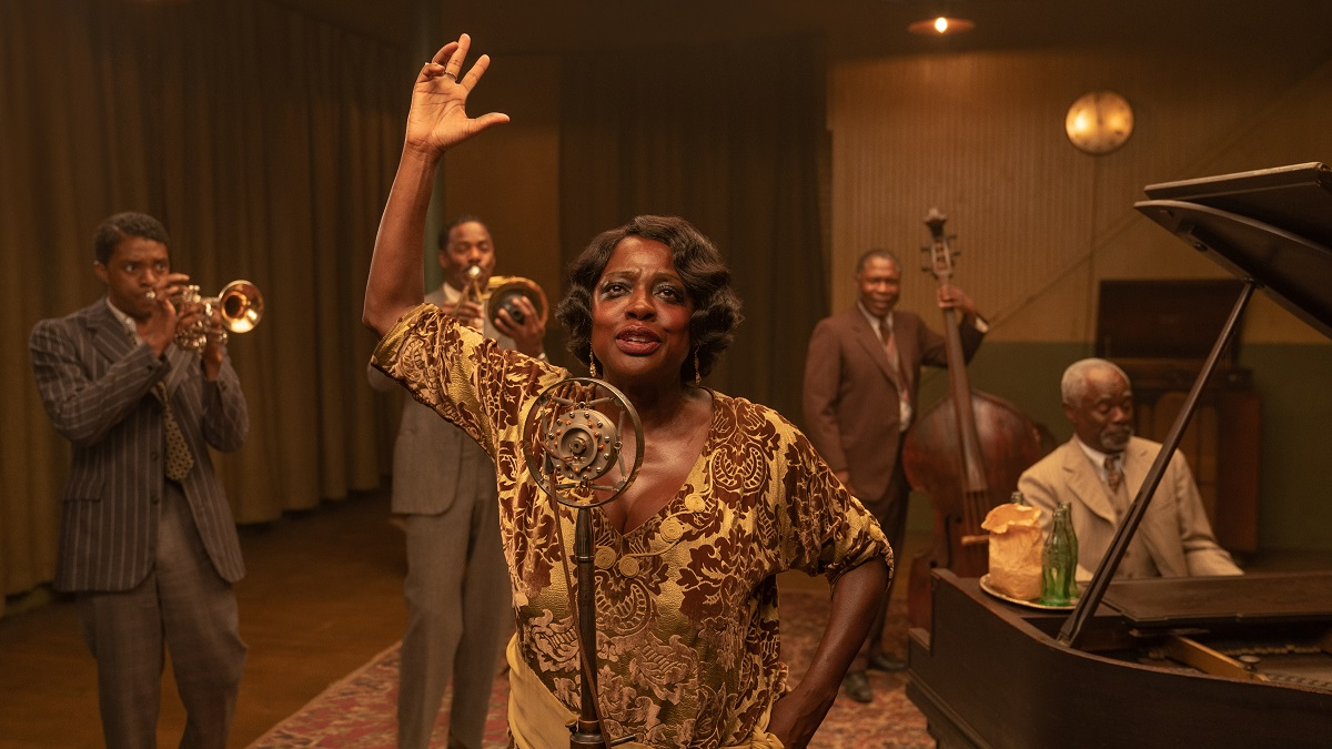 Still of Chadwick Boseman, Viola Davis, Colman Domingo, Glynn Turman and Michael Potts in Ma Rainey's Black Bottom.