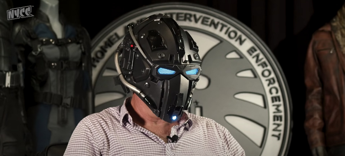 Prop Master Scott Bauer sports Deke Shaw's space helmet from Agents of S.H.I.E.L.D. at NYCC 2020.