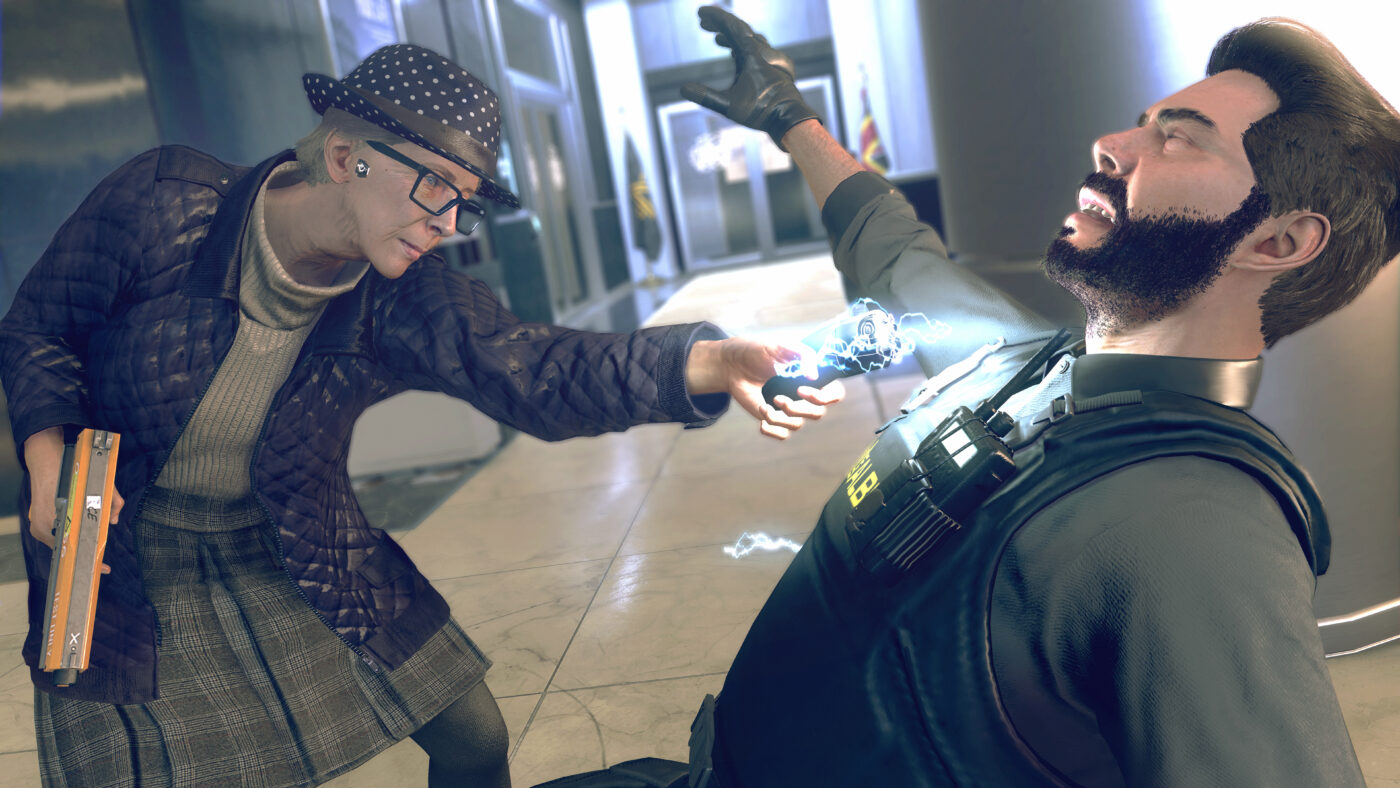 Granny tazing an officer in Watch Dogs: Legion, one of October's Most Anticipated Games