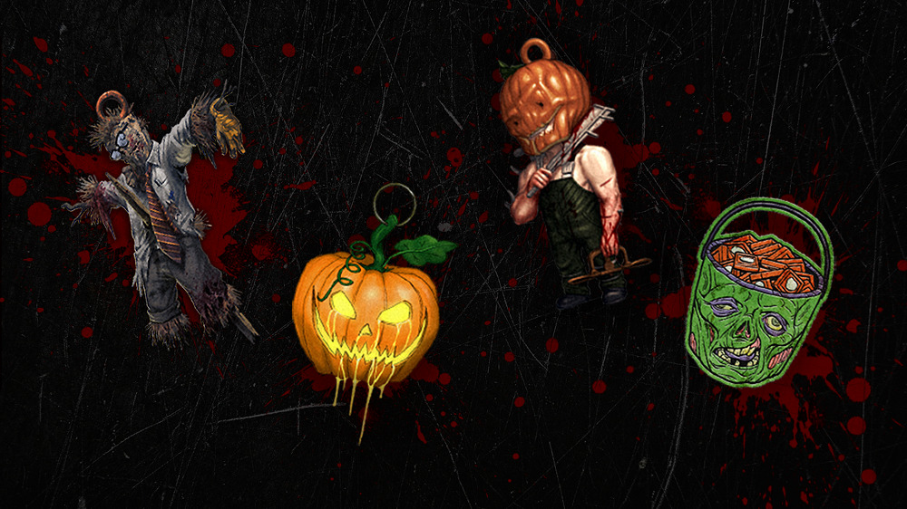 The four new charms coming to Dead By Daylight including Dwrightcrow, Blighted Jack, Trap-o-Lantern and Perk Treats.