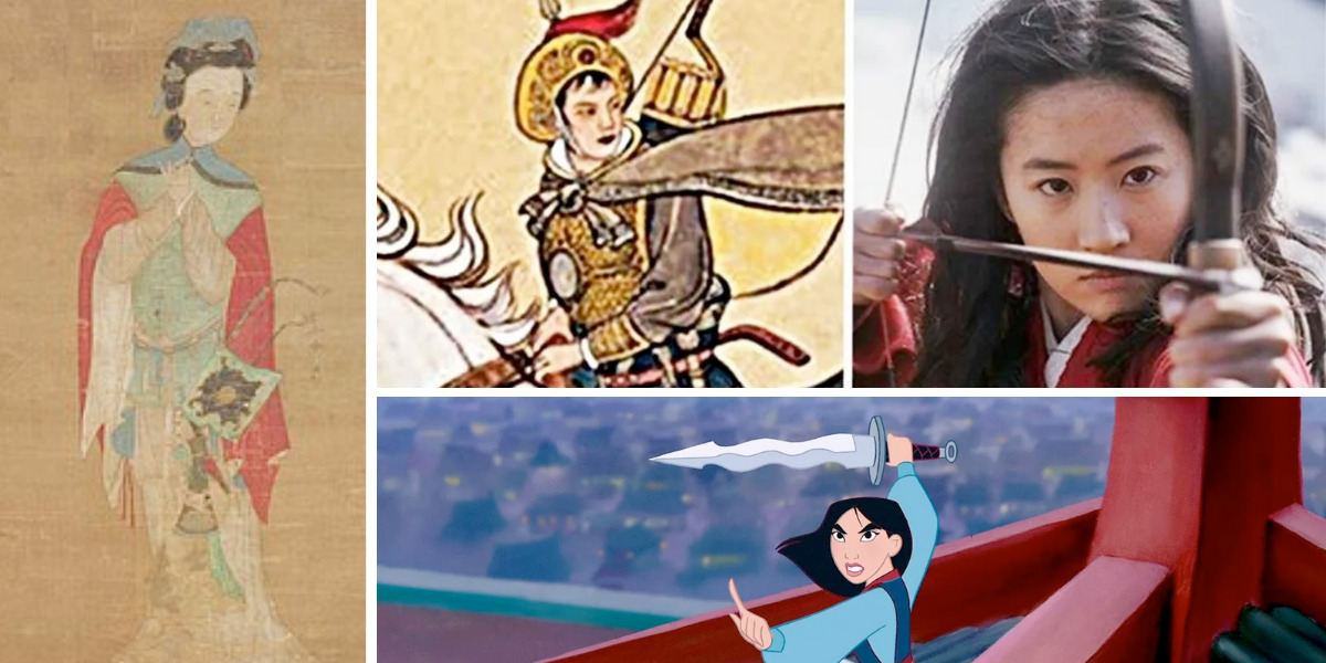 Different iterations of warrior queen Hua Mulan throughout history.