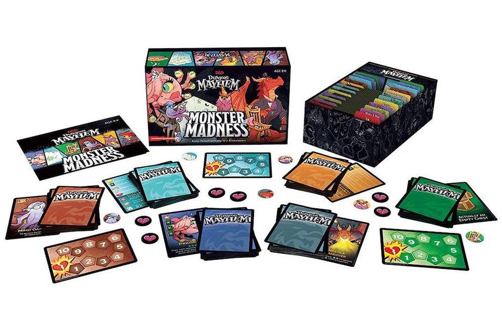 Monster Mayhem cards and box art.