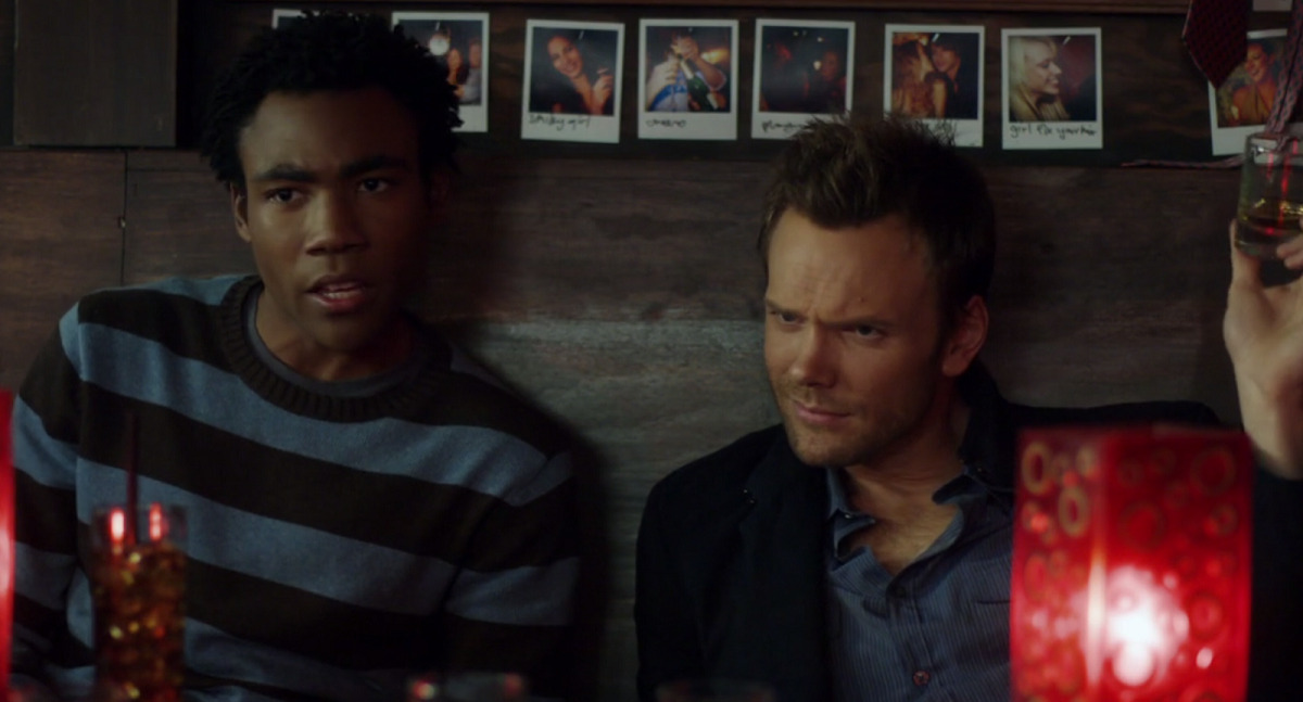Still of Donald Glover and Joel McHale in Community.