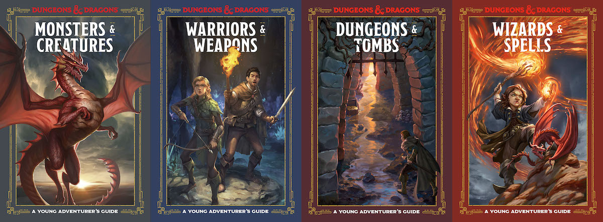 The four books within the D&D Young Adventurer's Guide