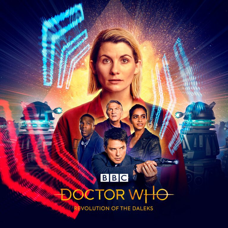 """Key art for Doctor Who holiday special """"Revolution of the Daleks."""""""